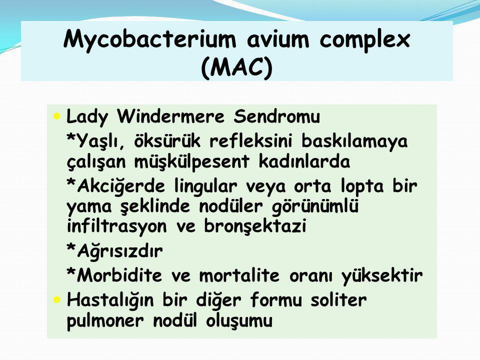 Mycobacterium avium complex (MAC) Lady Windermere Sendromu *Yaşlı, öksürük refleksini baskılamaya çalışan müşkülpesent kadınlarda *Akciğerde lingular