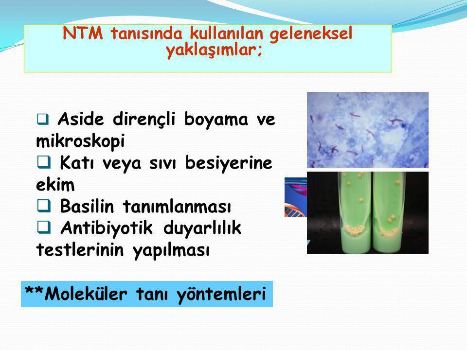 NTM tanısında kullanılan geleneksel yaklaşımlar;  Aside dirençli boyama ve mikroskopi  Katı veya sıvı besiyerine ekim  Basilin tanımlanması  Antib