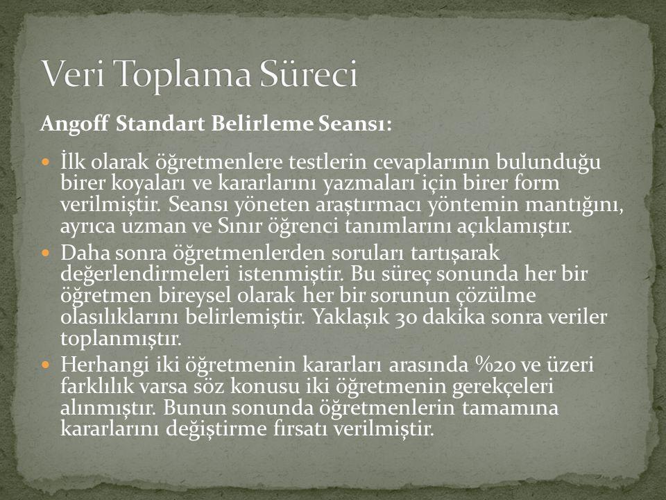 Angoff Standart Belirleme Seansı: İlk olarak öğretmenlere testlerin cevaplarının bulunduğu birer koyaları ve kararlarını yazmaları için birer form verilmiştir.