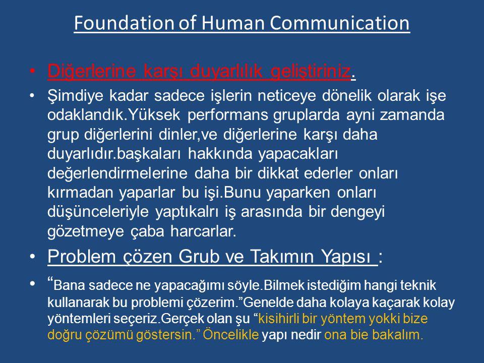 Foundation of Human Communication Diğerlerine karşı duyarlılık geliştiriniz.