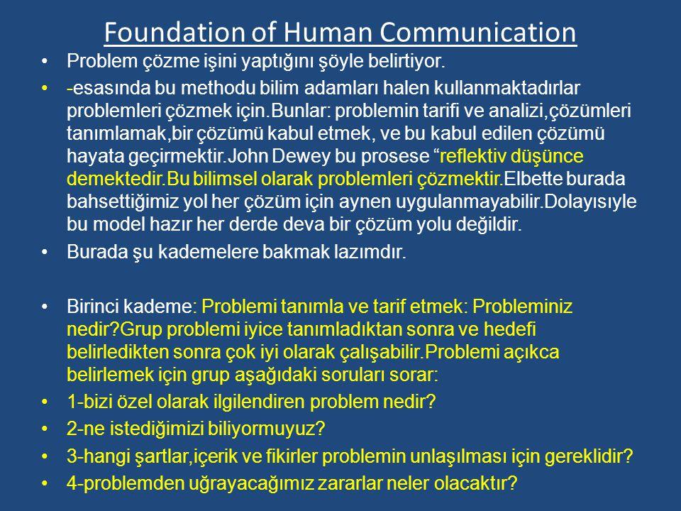 Foundation of Human Communication Problem çözme işini yaptığını şöyle belirtiyor.