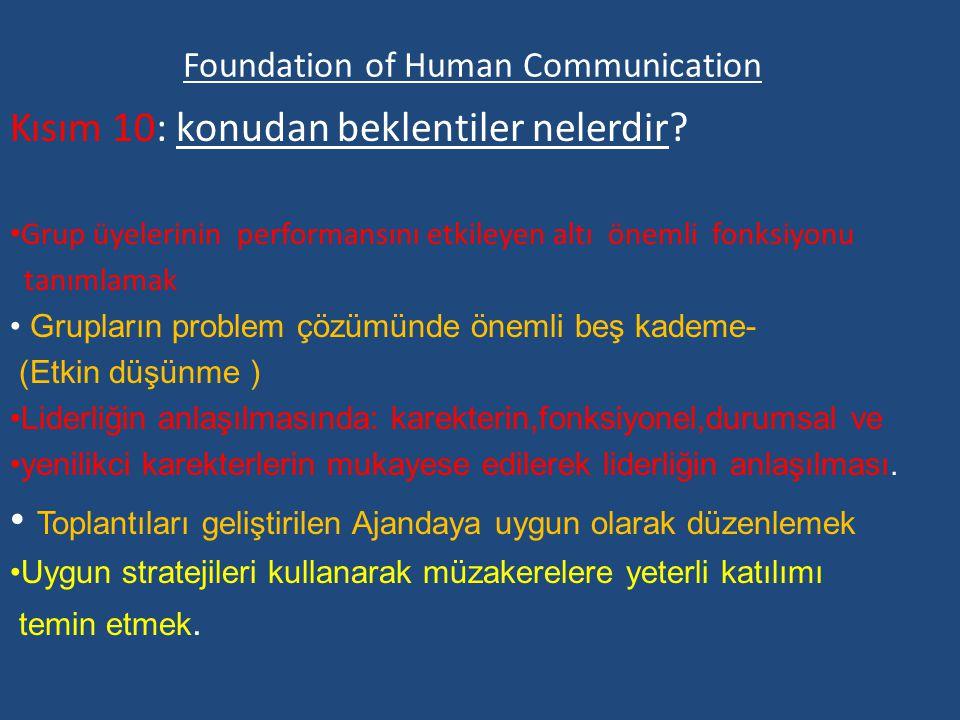Foundation of Human Communication Kısım 10: konudan beklentiler nelerdir.