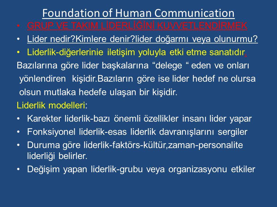 Foundation of Human Communication GRUP VE TAKIM LİDERLİĞİNİ KUVVETLENDİRMEK Lider nedir?Kimlere denir?lider doğarmı veya olunurmu.