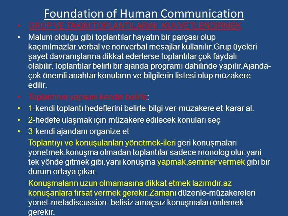 Foundation of Human Communication GRUP VE TAKIM TOPLANTILARINI KUVVETLENDİRMEK Malum olduğu gibi toplantılar hayatın bir parçası olup kaçınılmazlar.verbal ve nonverbal mesajlar kullanılır.Grup üyeleri şayet davranışlarına dikkat ederlerse toplantılar çok faydalı olabilir.Toplantılar belirli bir ajanda programı dahilinde yapılır.Ajanda- çok önemli anahtar konuların ve bilgilerin listesi olup müzakere edilir.
