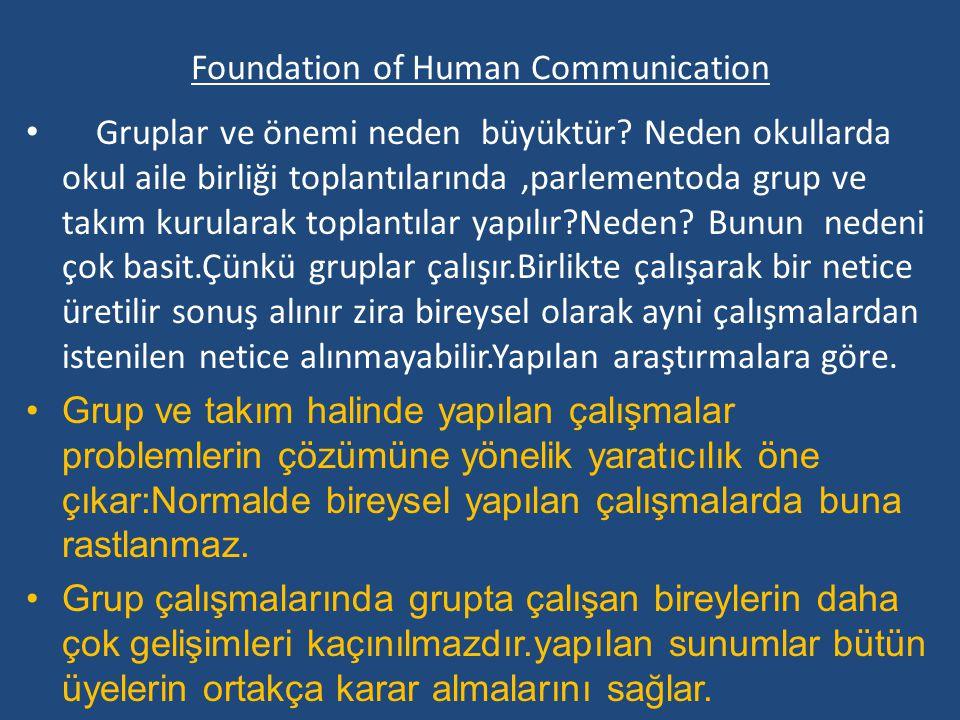 Foundation of Human Communication Gruplar ve önemi neden büyüktür.