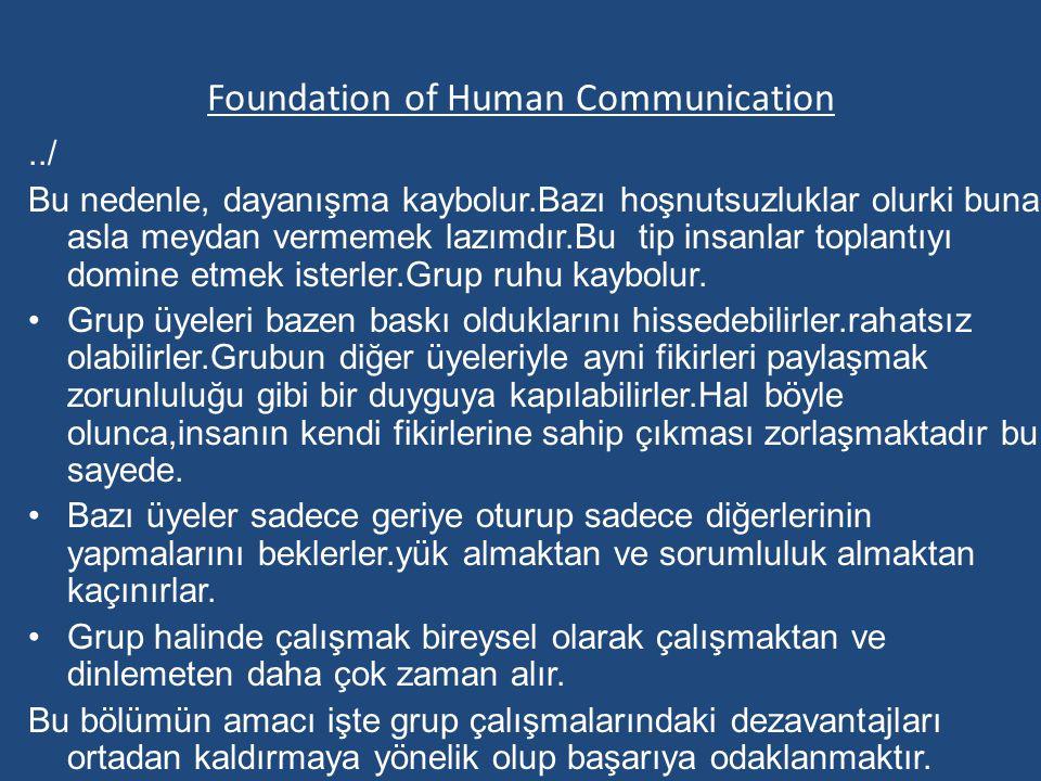 Foundation of Human Communication../ Bu nedenle, dayanışma kaybolur.Bazı hoşnutsuzluklar olurki buna asla meydan vermemek lazımdır.Bu tip insanlar toplantıyı domine etmek isterler.Grup ruhu kaybolur.
