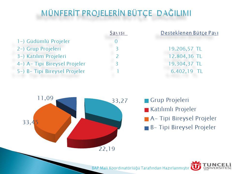 1-) Güdümlü Projeler 0 2-) Grup Projeleri 3 19.206,57 TL 3-) Katılım Projeleri 2 12.804,36 TL 4-) A- Tipi Bireysel Projeler 3 19.304,37 TL 5-) B- Tipi Bireysel Projeler 1 6.402,19 TL 1-) Güdümlü Projeler 0 2-) Grup Projeleri 3 19.206,57 TL 3-) Katılım Projeleri 2 12.804,36 TL 4-) A- Tipi Bireysel Projeler 3 19.304,37 TL 5-) B- Tipi Bireysel Projeler 1 6.402,19 TL BAP Mali Koordinatörlüğü Tarafından Hazırlanmıştır