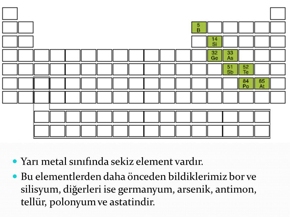Yarı metal sınıfında sekiz element vardır. Bu elementlerden daha önceden bildiklerimiz bor ve silisyum, diğerleri ise germanyum, arsenik, antimon, tel