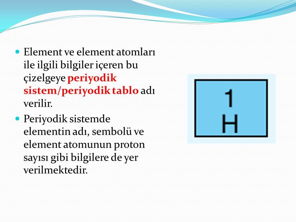 Element ve element atomları ile ilgili bilgiler içeren bu çizelgeye periyodik sistem/periyodik tablo adı verilir. Periyodik sistemde elementin adı, se