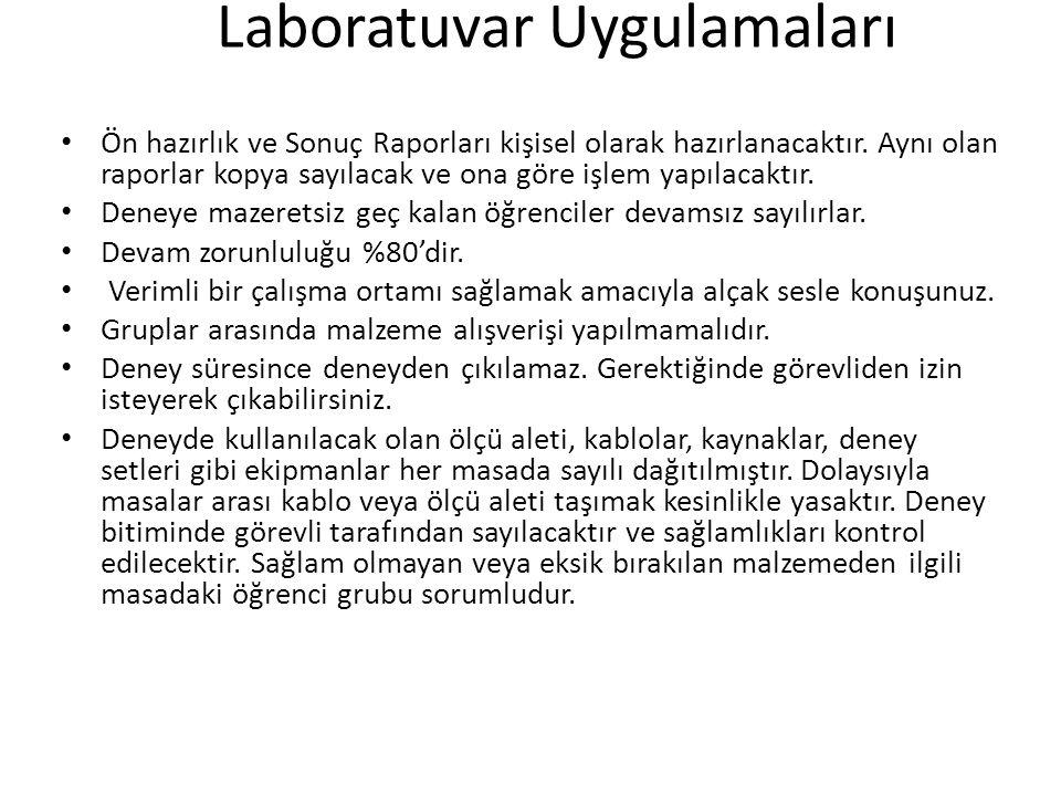 Laboratuvar Uygulamaları Ön hazırlık ve Sonuç Raporları kişisel olarak hazırlanacaktır.