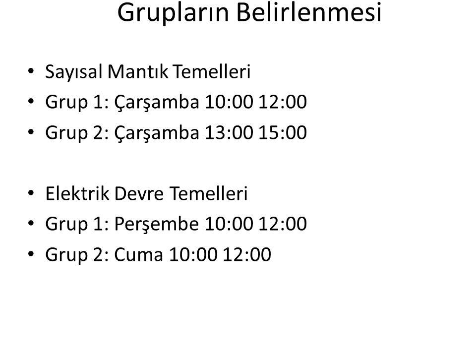 Grupların Belirlenmesi Sayısal Mantık Temelleri Grup 1: Çarşamba 10:00 12:00 Grup 2: Çarşamba 13:00 15:00 Elektrik Devre Temelleri Grup 1: Perşembe 10:00 12:00 Grup 2: Cuma 10:00 12:00
