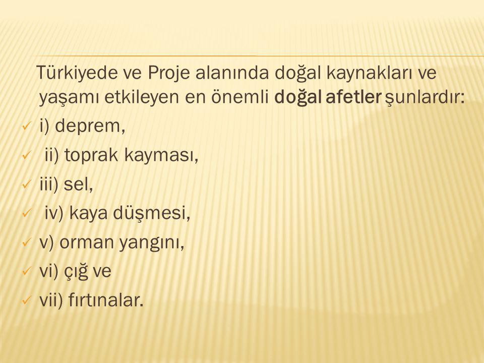 Türkiyede ve Proje alanında doğal kaynakları ve yaşamı etkileyen en önemli doğal afetler şunlardır: i) deprem, ii) toprak kayması, iii) sel, iv) kaya