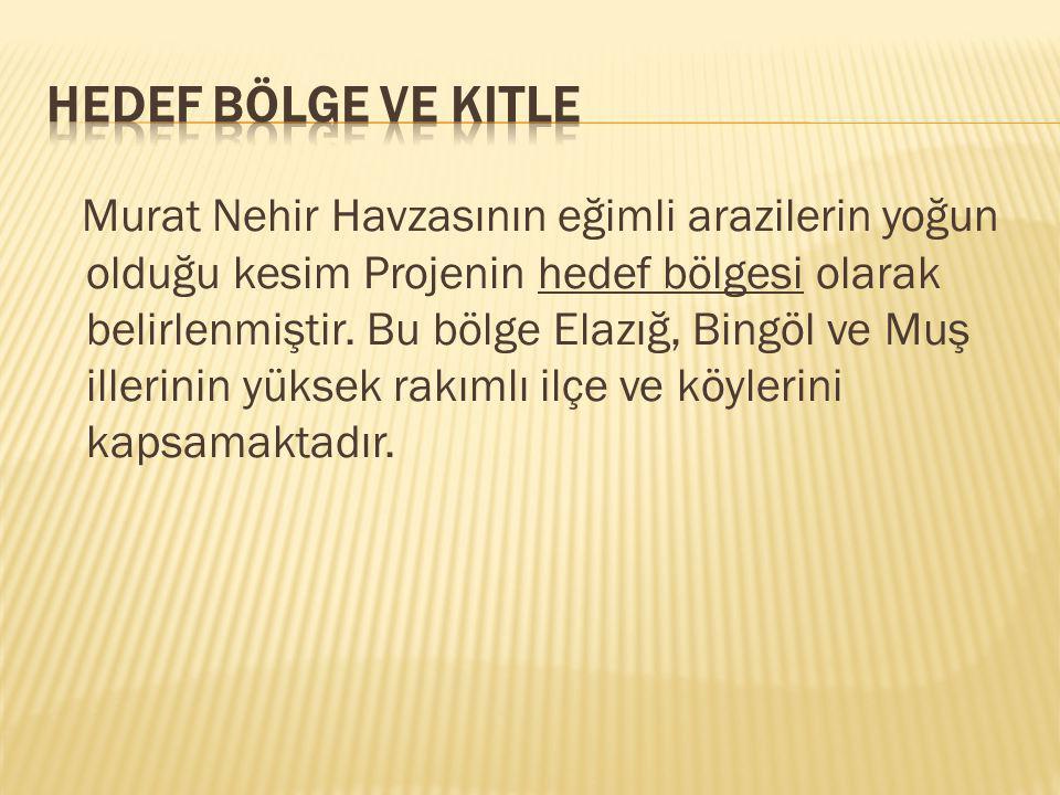 Murat Nehir Havzasının eğimli arazilerin yoğun olduğu kesim Projenin hedef bölgesi olarak belirlenmiştir.