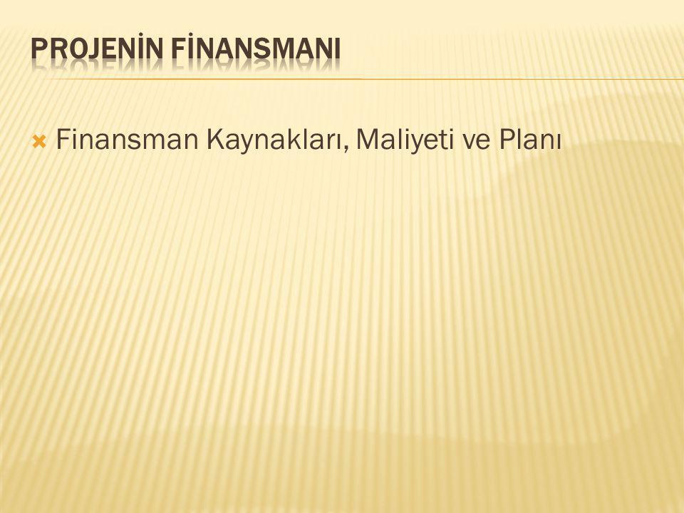  Finansman Kaynakları, Maliyeti ve Planı