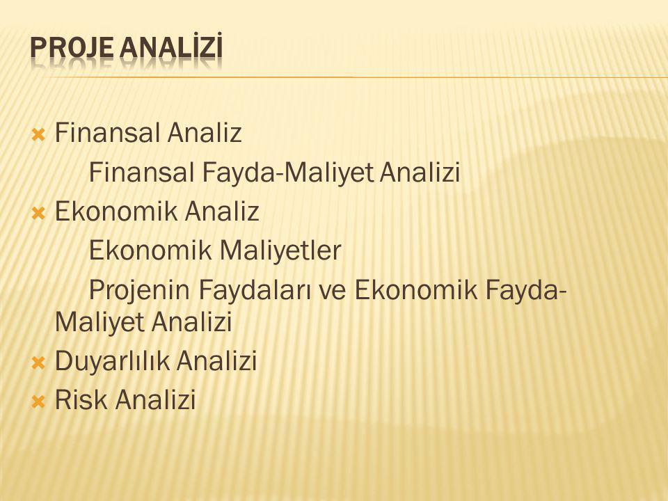  Finansal Analiz Finansal Fayda-Maliyet Analizi  Ekonomik Analiz Ekonomik Maliyetler Projenin Faydaları ve Ekonomik Fayda- Maliyet Analizi  Duyarlılık Analizi  Risk Analizi