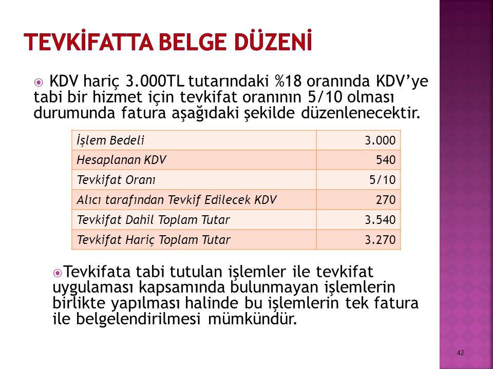  KDV hariç 3.000TL tutarındaki %18 oranında KDV'ye tabi bir hizmet için tevkifat oranının 5/10 olması durumunda fatura aşağıdaki şekilde düzenlenecektir.