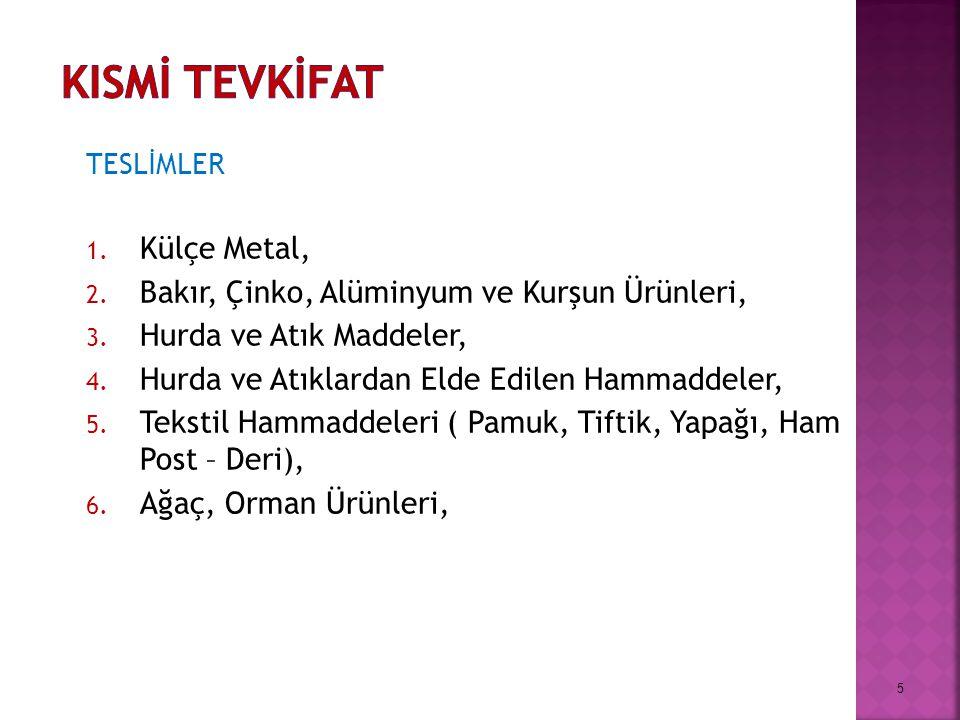 TESLİMLER 1.Külçe Metal, 2. Bakır, Çinko, Alüminyum ve Kurşun Ürünleri, 3.