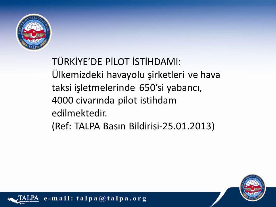 6 TÜRKİYE'DE PİLOT İSTİHDAMI: Ülkemizdeki havayolu şirketleri ve hava taksi işletmelerinde 650'si yabancı, 4000 civarında pilot istihdam edilmektedir.
