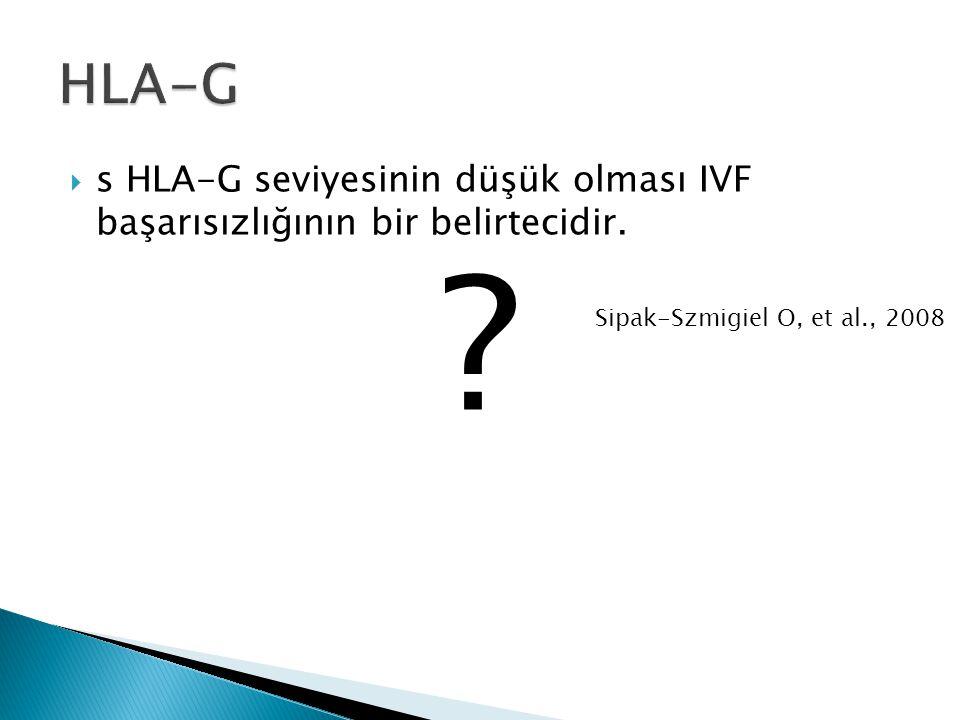  s HLA-G seviyesinin düşük olması IVF başarısızlığının bir belirtecidir. ? Sipak-Szmigiel O, et al., 2008
