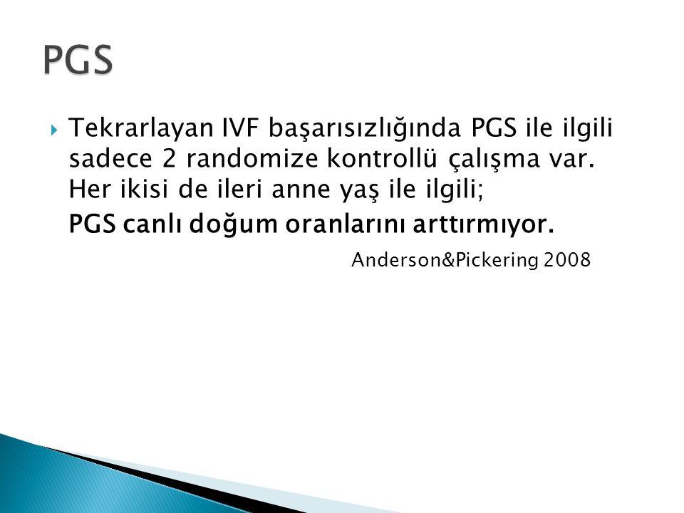  Tekrarlayan IVF başarısızlığında PGS ile ilgili sadece 2 randomize kontrollü çalışma var. Her ikisi de ileri anne yaş ile ilgili; PGS canlı doğum or