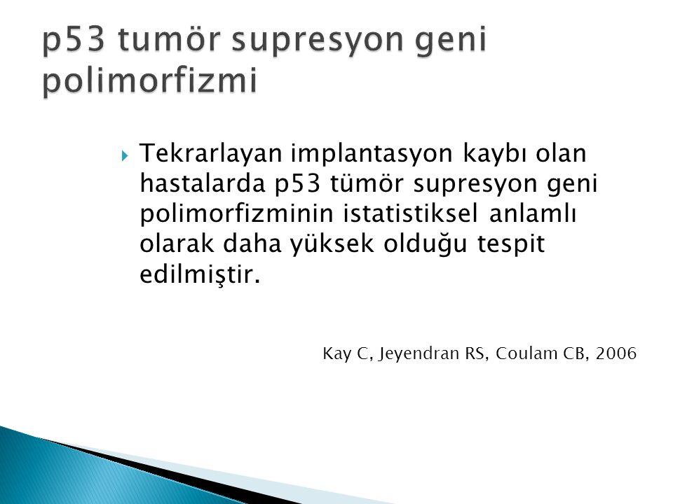  Tekrarlayan implantasyon kaybı olan hastalarda p53 tümör supresyon geni polimorfizminin istatistiksel anlamlı olarak daha yüksek olduğu tespit edilm