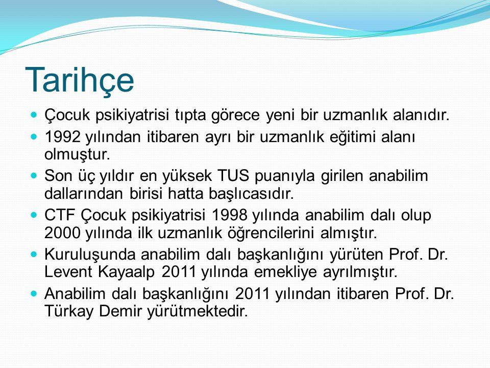 Tarihçe Çocuk psikiyatrisi tıpta görece yeni bir uzmanlık alanıdır. 1992 yılından itibaren ayrı bir uzmanlık eğitimi alanı olmuştur. Son üç yıldır en