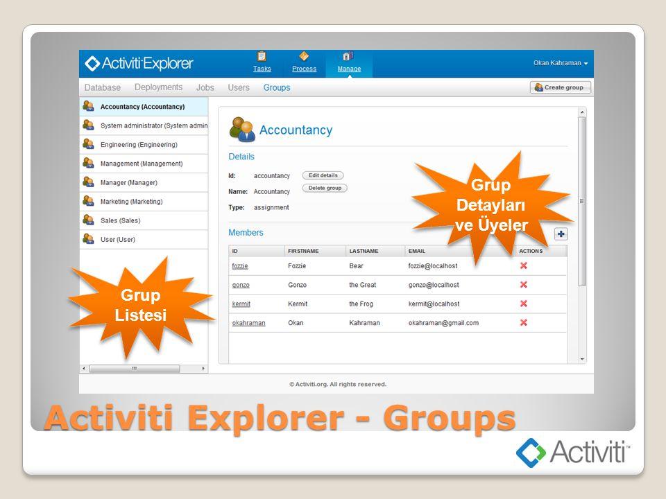 Activiti Explorer - Groups Grup Listesi Grup Detayları ve Üyeler