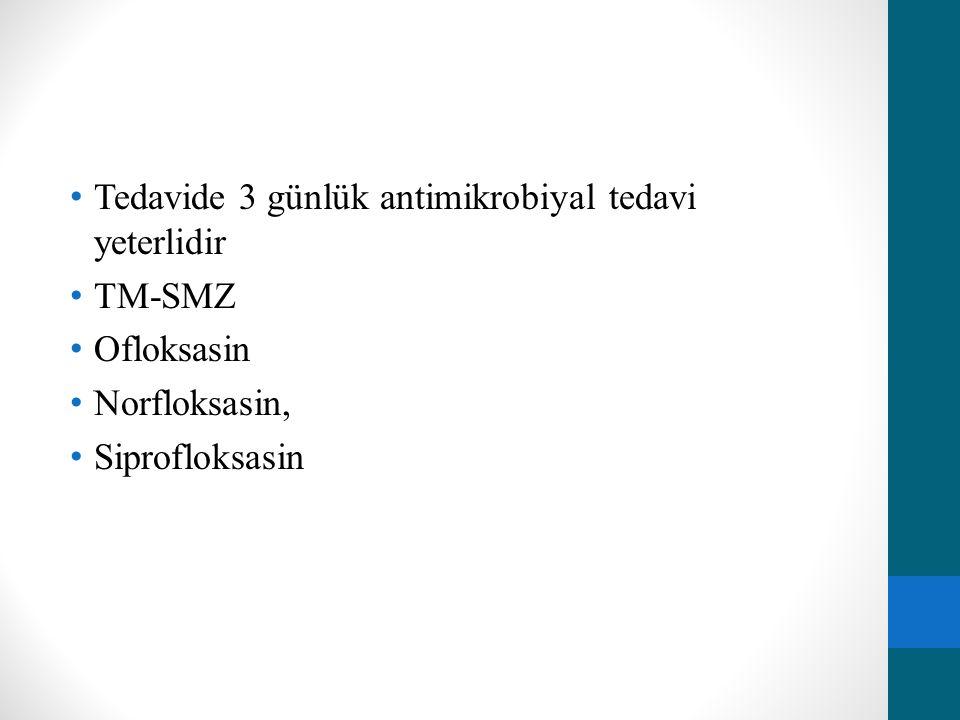 Tedavide 3 günlük antimikrobiyal tedavi yeterlidir TM-SMZ Ofloksasin Norfloksasin, Siprofloksasin