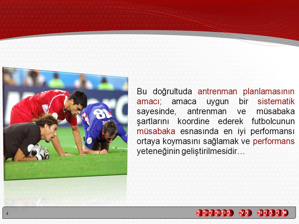 15 YILLIK ANTRENMAN PERİYOTLAMASINDA GENEL VE FUTOLBOLA ÖZGÜ SPOR EĞİTİMİ İLİŞKİSİ MAKSİMAL % HAZIRLIK DÖNEMİMÜSABAKA DÖNEMİGEÇİŞ DÖNEMİ 100 80 60 40 20 Genel Kondisyon Eğitimi Futbola Özgü Eğitim (Teknik-taktik-maç)