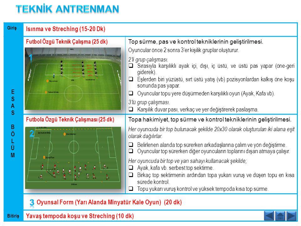 Giriş Isınma ve Streching (15-20 Dk) Futbol Özgü Teknik Çalışma (25 dk) Top sürme, pas ve kontrol tekniklerinin geliştirilmesi. Oyuncular önce 2 sonra