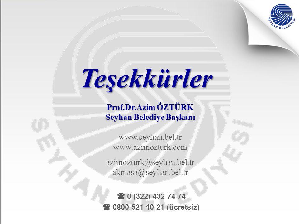 Teşekkürler Prof.Dr.Azim ÖZTÜRK Seyhan Belediye Başkanı www.seyhan.bel.tr www.azimozturk.com azimozturk@seyhan.bel.tr akmasa@seyhan.bel.tr  0 (322) 4