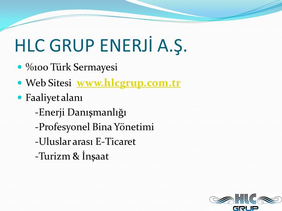 HLC GRUP ENERJİ A.Ş. %100 Türk Sermayesi Web Sitesi www.hlcgrup.com.tr www.hlcgrup.com.tr Faaliyet alanı -Enerji Danışmanlığı -Profesyonel Bina Yöneti