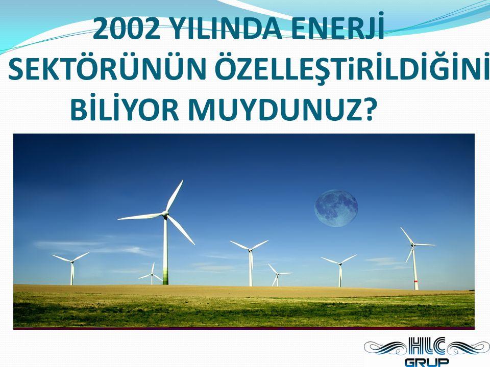 2002 YILINDA ENERJİ SEKTÖRÜNÜN ÖZELLEŞTiRİLDİĞİNİ BİLİYOR MUYDUNUZ?