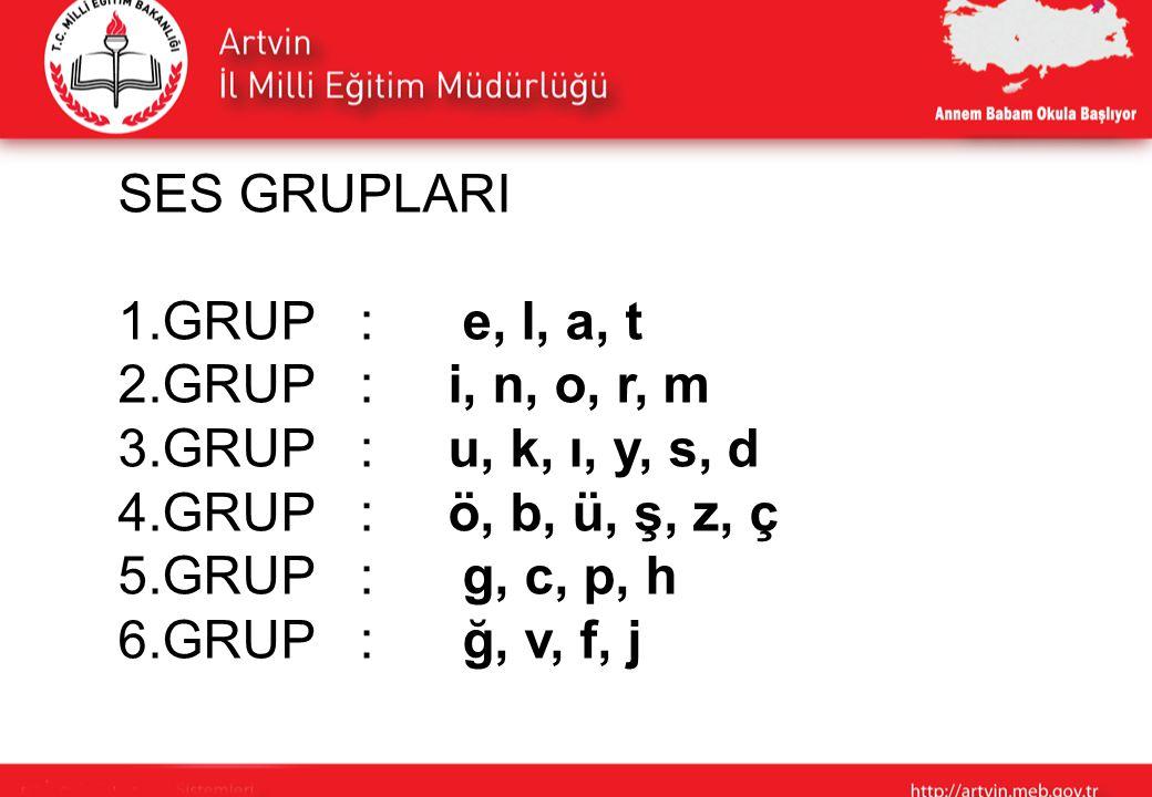 SES GRUPLARI 1.GRUP : e, l, a, t 2.GRUP : i, n, o, r, m 3.GRUP : u, k, ı, y, s, d 4.GRUP : ö, b, ü, ş, z, ç 5.GRUP : g, c, p, h 6.GRUP : ğ, v, f, j