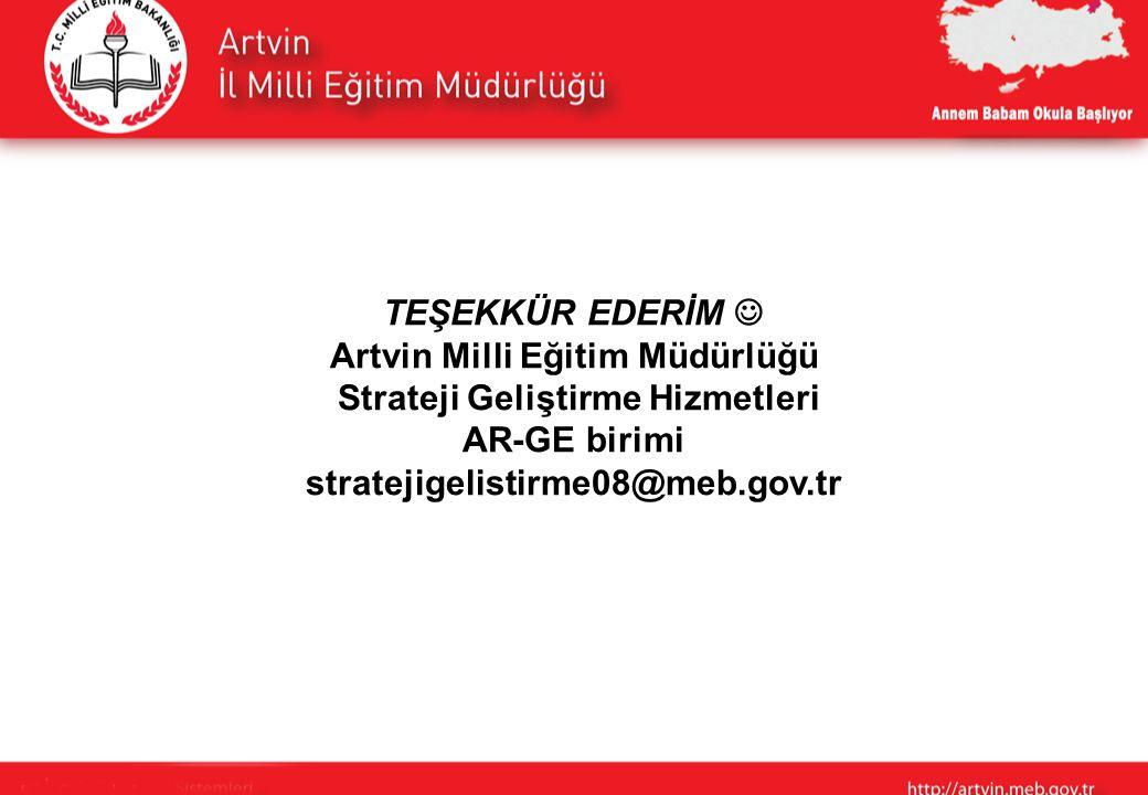 TEŞEKKÜR EDERİM Artvin Milli Eğitim Müdürlüğü Strateji Geliştirme Hizmetleri AR-GE birimi stratejigelistirme08@meb.gov.tr