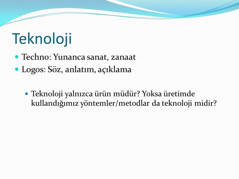 Teknoloji Techno: Yunanca sanat, zanaat Logos: Söz, anlatım, açıklama Teknoloji yalnızca ürün müdür? Yoksa üretimde kullandığımız yöntemler/metodlar d