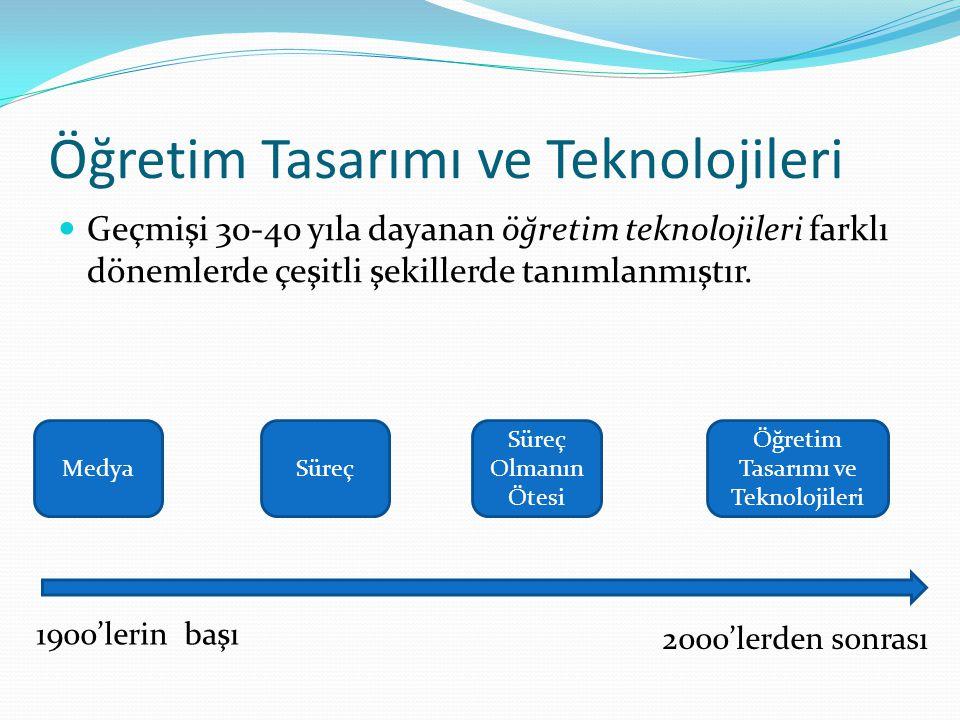 Öğretim Tasarımı ve Teknolojileri Geçmişi 30-40 yıla dayanan öğretim teknolojileri farklı dönemlerde çeşitli şekillerde tanımlanmıştır. MedyaSüreç Sür