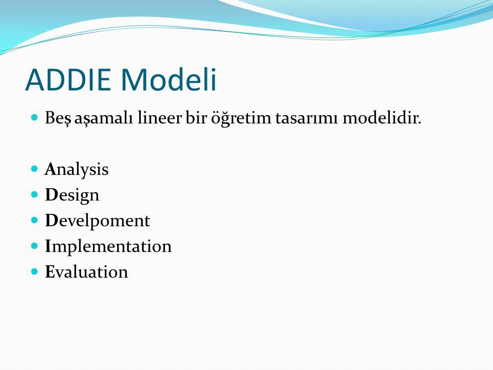 ADDIE Modeli Beş aşamalı lineer bir öğretim tasarımı modelidir. Analysis Design Develpoment Implementation Evaluation