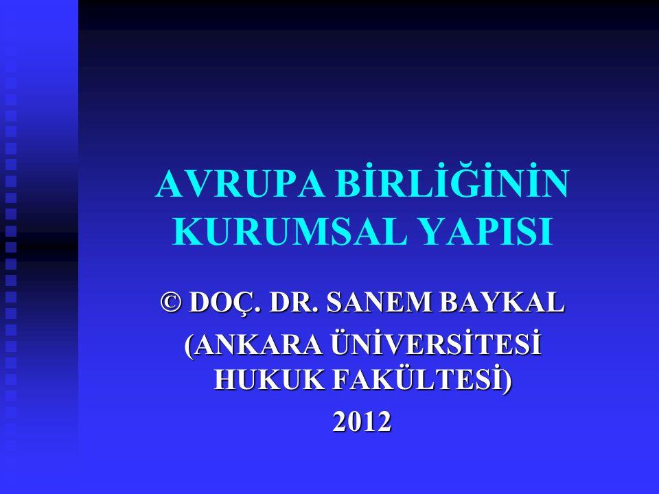 AVRUPA BİRLİĞİNİN KURUMSAL YAPISI © DOÇ. DR. SANEM BAYKAL (ANKARA ÜNİVERSİTESİ HUKUK FAKÜLTESİ) 2012