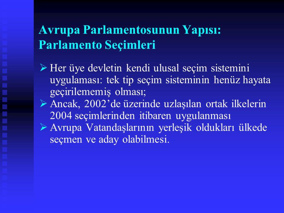 Avrupa Parlamentosunun Yapısı: Parlamento Seçimleri   Her üye devletin kendi ulusal seçim sistemini uygulaması: tek tip seçim sisteminin henüz hayat