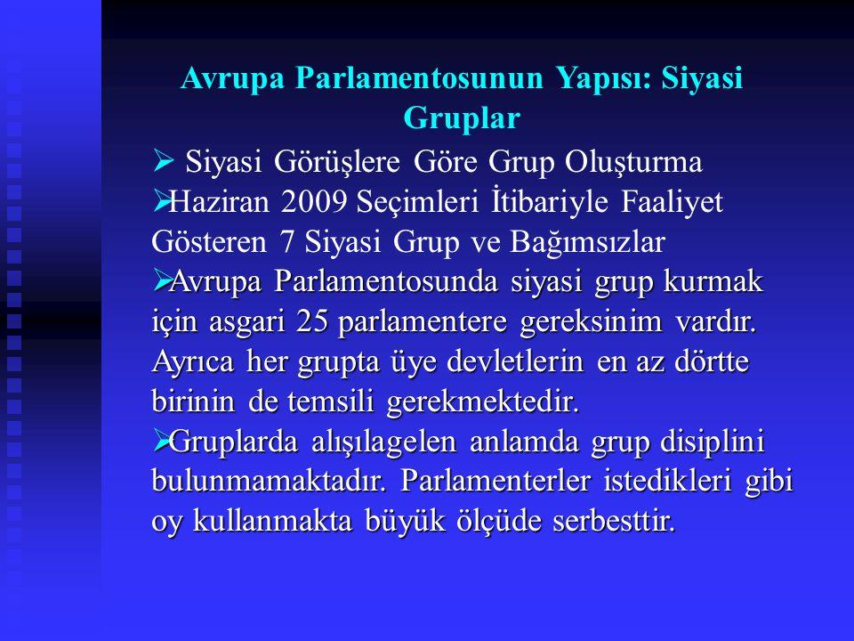  Siyasi Görüşlere Göre Grup Oluşturma  Haziran 2009 Seçimleri İtibariyle Faaliyet Gösteren 7 Siyasi Grup ve Bağımsızlar  Avrupa Parlamentosunda siy