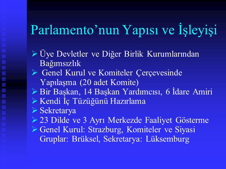 Parlamento'nun Yapısı ve İşleyişi   Üye Devletler ve Diğer Birlik Kurumlarından Bağımsızlık   Genel Kurul ve Komiteler Çerçevesinde Yapılaşma (20