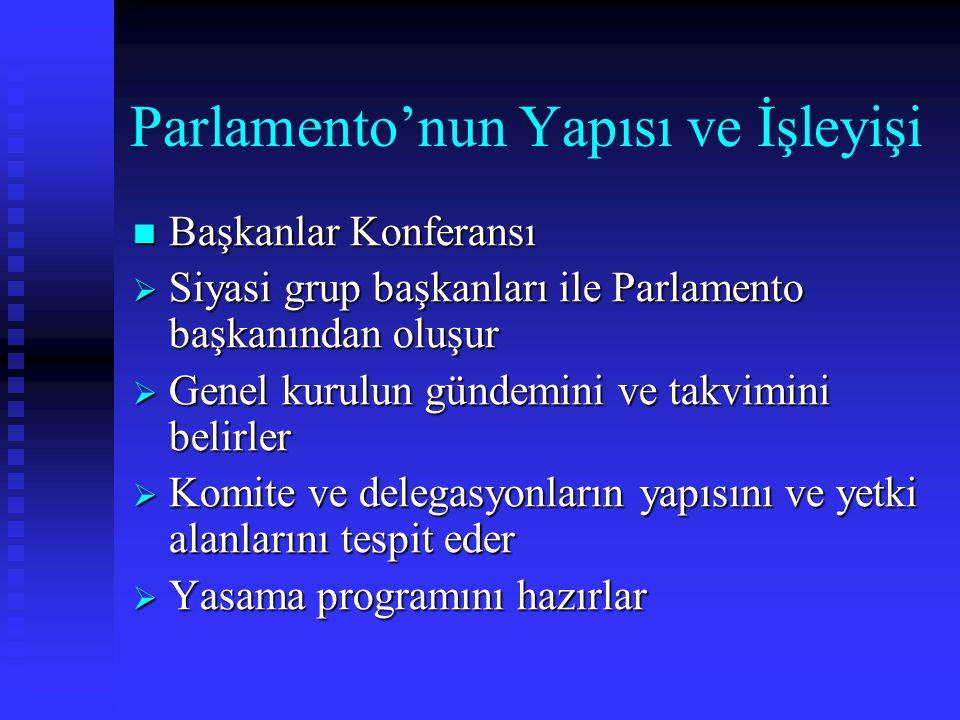 Parlamento'nun Yapısı ve İşleyişi Başkanlar Konferansı Başkanlar Konferansı  Siyasi grup başkanları ile Parlamento başkanından oluşur  Genel kurulun