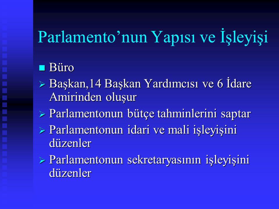 Parlamento'nun Yapısı ve İşleyişi Büro Büro  Başkan,14 Başkan Yardımcısı ve 6 İdare Amirinden oluşur  Parlamentonun bütçe tahminlerini saptar  Parl