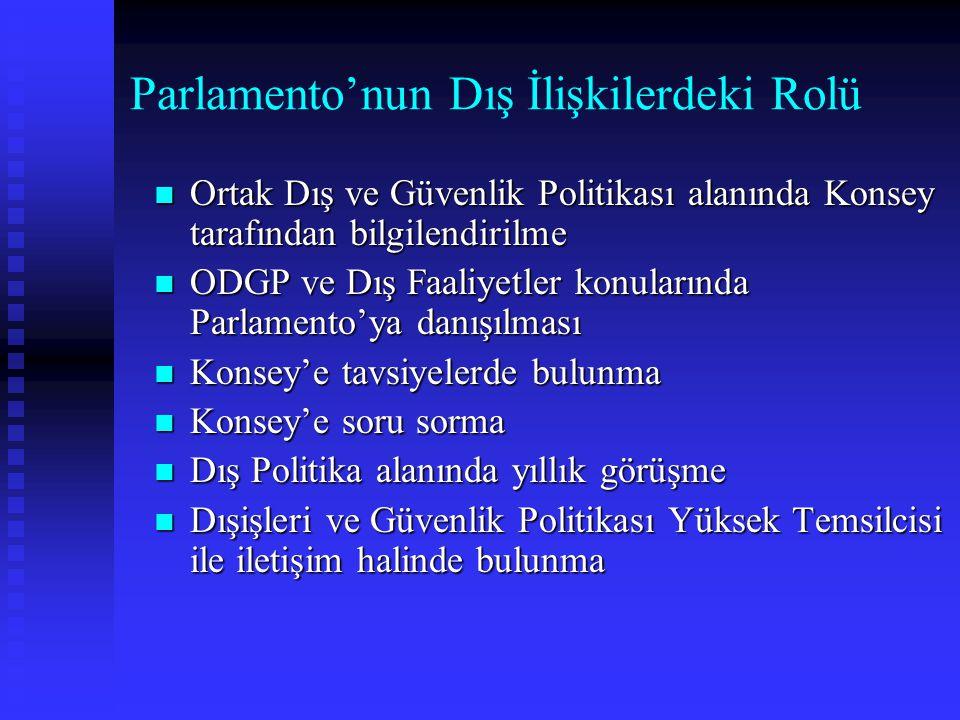 Parlamento'nun Dış İlişkilerdeki Rolü Ortak Dış ve Güvenlik Politikası alanında Konsey tarafından bilgilendirilme Ortak Dış ve Güvenlik Politikası ala