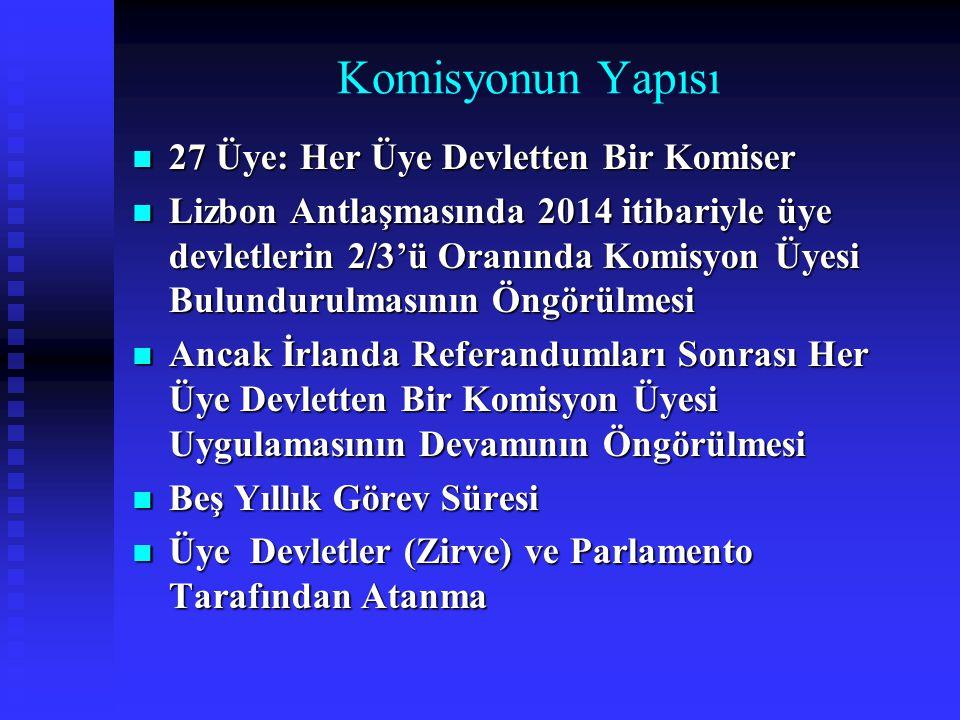 Komisyonun Yapısı 27 Üye: Her Üye Devletten Bir Komiser 27 Üye: Her Üye Devletten Bir Komiser Lizbon Antlaşmasında 2014 itibariyle üye devletlerin 2/3