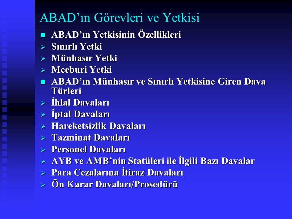 ABAD'ın Görevleri ve Yetkisi ABAD'ın Yetkisinin Özellikleri ABAD'ın Yetkisinin Özellikleri  Sınırlı Yetki  Münhasır Yetki  Mecburi Yetki ABAD'ın Mü