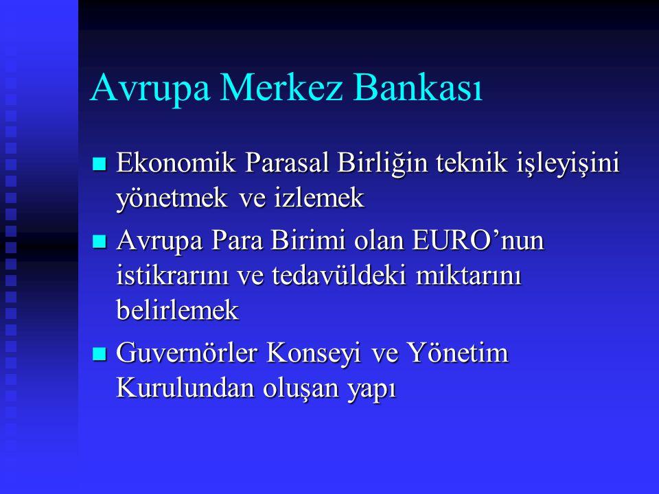Avrupa Merkez Bankası Ekonomik Parasal Birliğin teknik işleyişini yönetmek ve izlemek Ekonomik Parasal Birliğin teknik işleyişini yönetmek ve izlemek