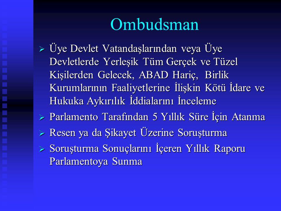 Ombudsman  Üye Devlet Vatandaşlarından veya Üye Devletlerde Yerleşik Tüm Gerçek ve Tüzel Kişilerden Gelecek, ABAD Hariç, Birlik Kurumlarının Faaliyet