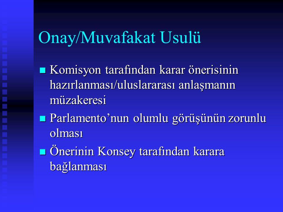 Onay/Muvafakat Usulü Komisyon tarafından karar önerisinin hazırlanması/uluslararası anlaşmanın müzakeresi Komisyon tarafından karar önerisinin hazırla